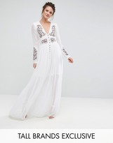 Frock and Frill Tall Frock And Frill Tall Folk Embroidered Button Down Maxi Dress