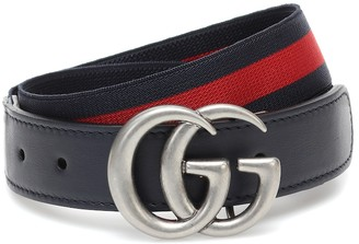Gucci Kids GG leather-trimmed belt