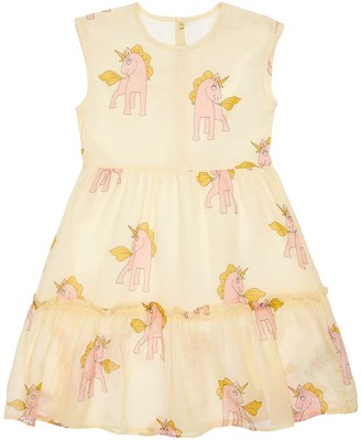 Mini Rodini Unicorn Print Cotton Muslin Dress