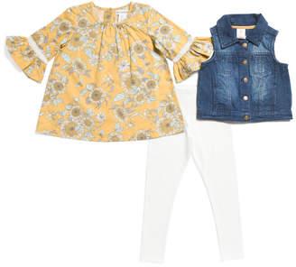 Toddler Girls 3pc Denim Vest Leggings Set