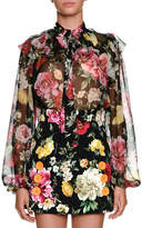 Dolce & Gabbana Bow-Tie Long-Sleeve Floral-Print Silk Chiffon Blouse