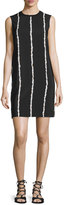 Derek Lam 10 Crosby Sleeveless Striped Silk Shift Dress, Black/White