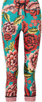 The Upside Frida Nyc Cropped Printed Stretch Leggings - Turquoise