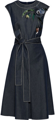 Carolina Herrera Belted Floral-appliqued Embroidered Denim Dress