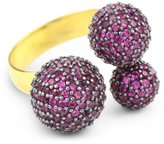 Azaara Paris 22k Yellow Gold-Dipped Sterling Silver and Pink Sphere Ring, Size 7