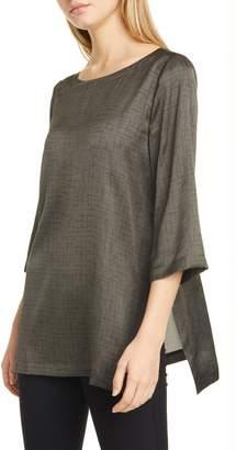 Eileen Fisher Crosshatch Print Silk & Organic Cotton Tunic Top