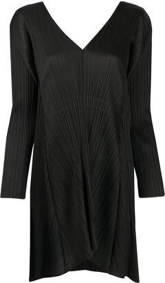 Pleats Please Issey Miyake Pleated Drawstring-Waist Dress