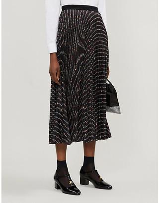 Miu Miu Floral and logo-printed plisse midi skirt