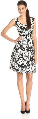 Kasper Women's Cap Sleeve Floral Printed Fit and Flare Dress