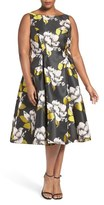 Adrianna Papell Floral Tea Length Dress (Plus Size)