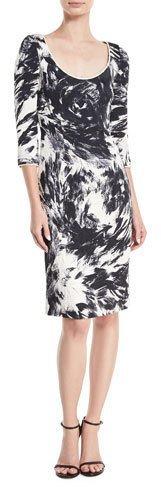 Naeem Khan 3/4-Sleeves Scoop-Neck Matelassé Printed Dress