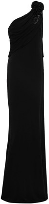 Badgley Mischka One-shoulder Floral-appliqued Draped Stretch-jersey Gown
