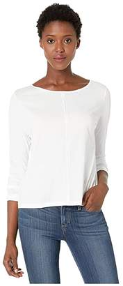 Lilla P Seamed Boat Neck Tee (White) Women's T Shirt