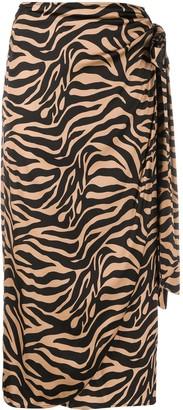 Andamane Zebra-Print Draped Satin Midi Skirt
