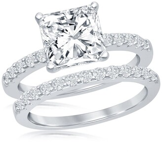 Simona Jewelry Sterling Silver Princess-Cut CZ Engagement Ring & Wedding Band Set