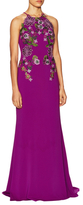 Badgley Mischka Floral Applique Front Halter Dress