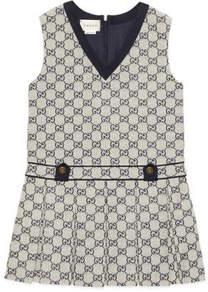 Gucci GG Logo Sleeveless Cotton Blend Dress