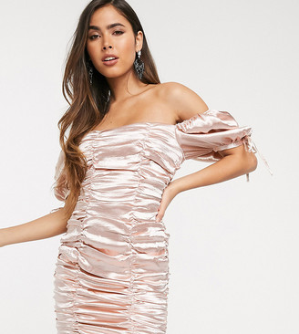 Skylar Rose ruched mini dress with balloon sleeves in hammered satin