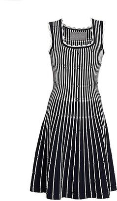 Lela Rose Two-Tone Pinstripe Scalloped Knit Fit-&-Flare Dress