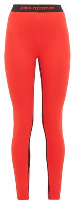 Paco Rabanne Logo-jacquard Jersey Leggings - Womens - Red