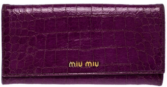 Miu Miu Purple Croc Embossed Patent Leather Flap Continental Wallet