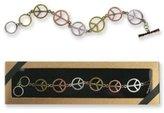 DM D&M Peace Sign Tri-Tone Toggle Bracelet Gift Boxed