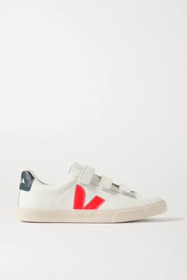 Veja Net Sustain 3-lock Logo Rubber-trimmed Leather Sneakers - White