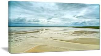 "Design Art Usa ""Low Tide in Mont Saint Normandy"" Landscape Wall Art Print, 32""x16"""