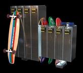 1 Tier 5 Wide Gym Locker Skateboard Lockers Configuration: 12 skateboards / 4 Longboards