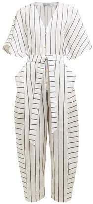 Palmer Harding Palmer//Harding Palmer//harding - Dana Striped Cotton-blend Jumpsuit - Womens - Navy Stripe