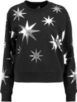 Love Moschino Metallic printed cotton-blend jersey sweatshirt