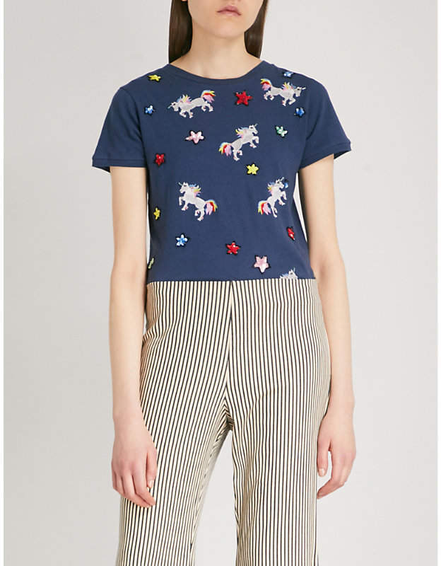 Alice + Olivia Alice & Olivia Rylyn unicorn-embroidered cotton and linen-blend T-shirt