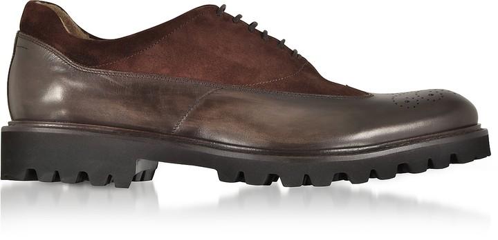 Fratelli Borgioli Ebony Leather and Suede Oxford Shoes