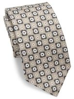 Isaia Floral Check Linen Tie