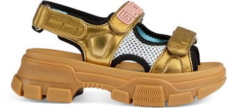 Gucci Children's metallic leather and mesh sandal
