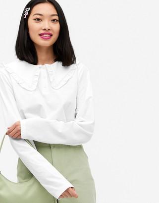 Monki Pari organic cotton long sleeve top with collar in white