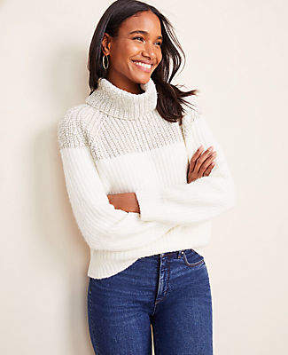 Ann Taylor Shimmer Ribbed Turtleneck Sweater