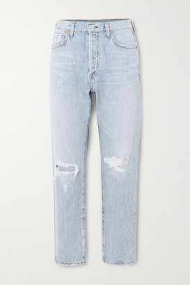 Citizens of Humanity Liya Distressed High-rise Straight-leg Jeans - Light denim