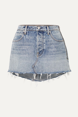 Alexander Wang Snip Zip-embellished Frayed Denim Mini Skirt - Blue