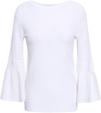 Autumn Cashmere Fluted Pointelle-knit Top
