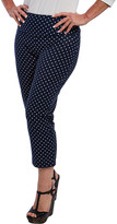Teez Her Teez-Her Women's Casual Pants CATAMARAN - Catamaran Navy & White Polka Dot Tummy-Control Capri Pants - Women