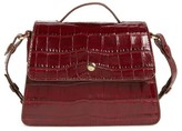 Elizabeth and James Mini Eloise Croc Embossed Leather Satchel - Red