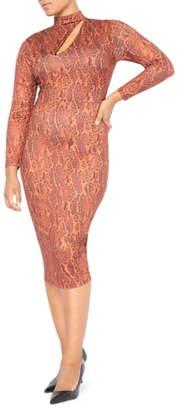 ELOQUII Snake Print Long Sleeve Cutout Detail Body-Con Dress