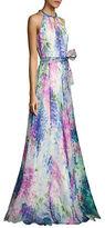 Carmen Carmen Marc Valvo Floral-Print Silk Organza Halter Gown