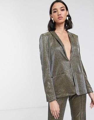 Soaked In Luxury metallic gold suit jacket