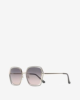 Express Clear Frame Hexagon Sunglasses