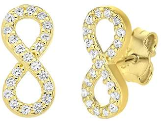 Citerna 9 ct Yellow Gold infinity Earrings with Cz Stones