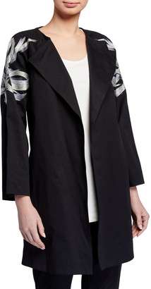 Natori Classic Cotton Twill Jacket with Tie