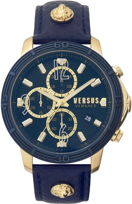 Versus By Versace Bicocca Leather Strap Watch, 46mm