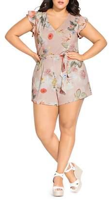 City Chic Plus Summer Rose Floral-Print Romper